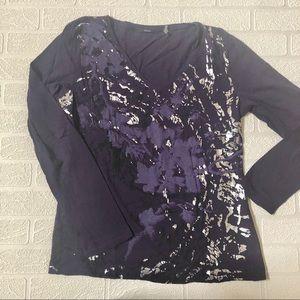 Tahari Metallic Accent Long Sleeve Shirt